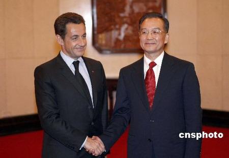 组图:温家宝会见法国总统萨科齐