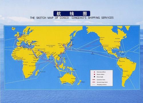图文:青岛远洋运输公司航线图