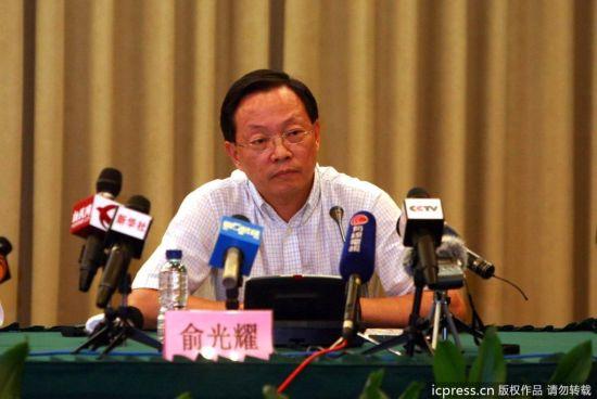 2011年9月27日20时30分,上海市政府新闻办召开地铁10号线追尾事故新闻通气会。申通地铁董事长俞光耀。图片来源:东方IC