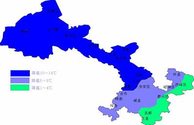 甘肃省普遍出现了降温降水天气( 肃北、凉州区达15度以上.个别地
