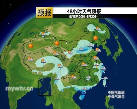 48小时天气预报图(图片来源:中国气象视频网)-北方夏秋转换雨水