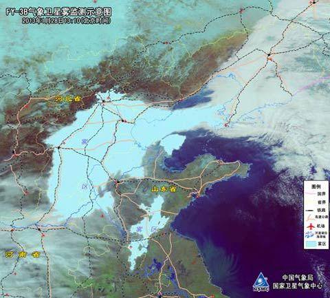 (北京时)-卫星云图下的华北平原大雾分布图片