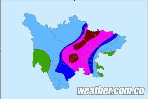 四川降雨量预报图(7月15日20时至19日08时)