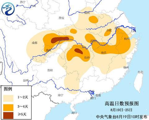 8月19日至25日高温日数预报图