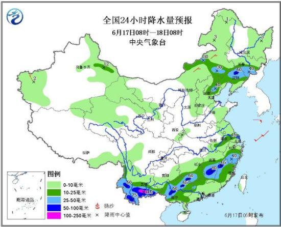 全国24小时降水量预报图