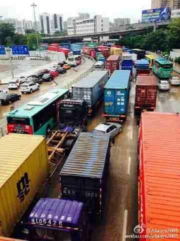 今晨深圳市道路阻塞严重