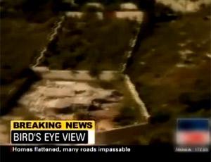 航拍海地强震后房屋倒塌道路堵塞