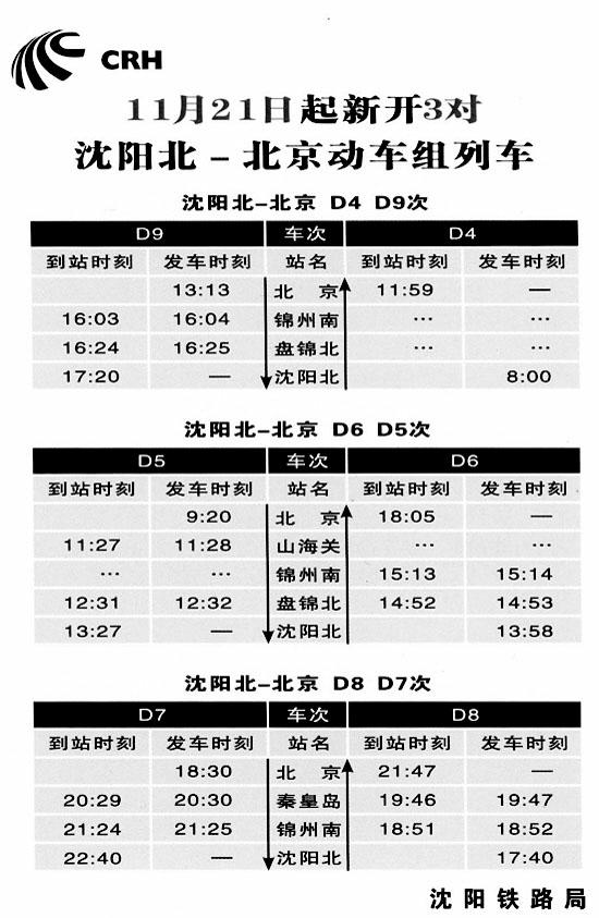 今起沈阳进京新增3对动车组