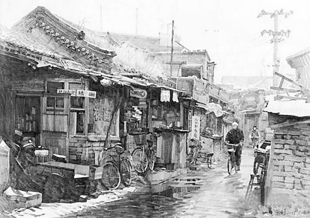 老北京胡同素描风景