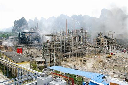 图文:广西宜州化工厂爆炸