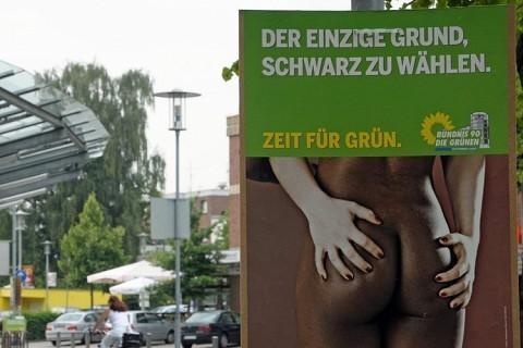 德国绿党竞选海报用女性裸体做噱头遭猛批(图