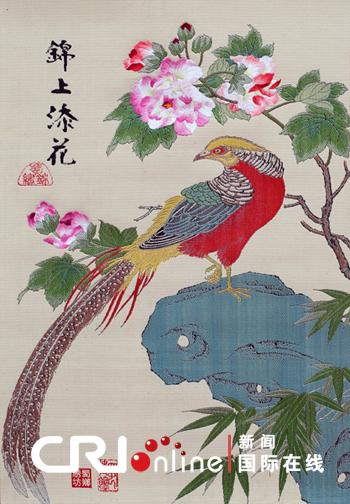 """成都绣娘运用蜀锦蜀绣工艺演绎""""锦上添花""""(图)图片"""
