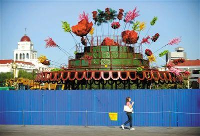国庆花坛开建