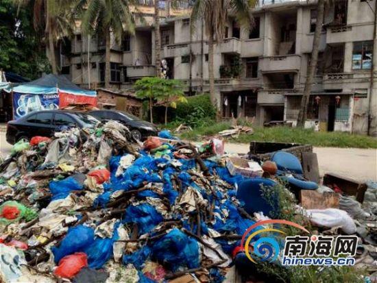海口:木材厂空地堆满垃圾无人清理臭气熏天