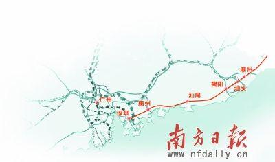 位于揭阳的潮汕机场,位于潮州的厦深铁路枢纽站和