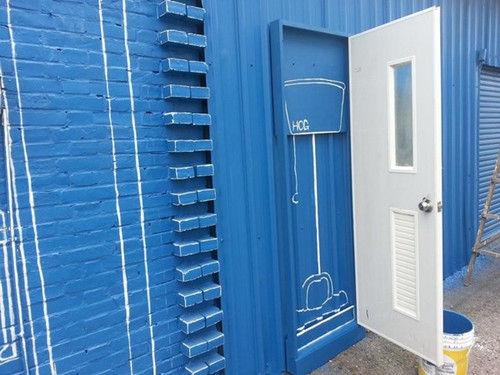 洗手间门墙绘