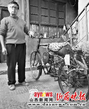 运城老人自制空气动力自行车(图)