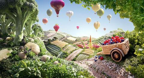 摄影师用蔬菜食品拍出风景画(组图)