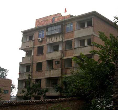 钉子户挂国旗对抗开发商房屋被断水电(组图)