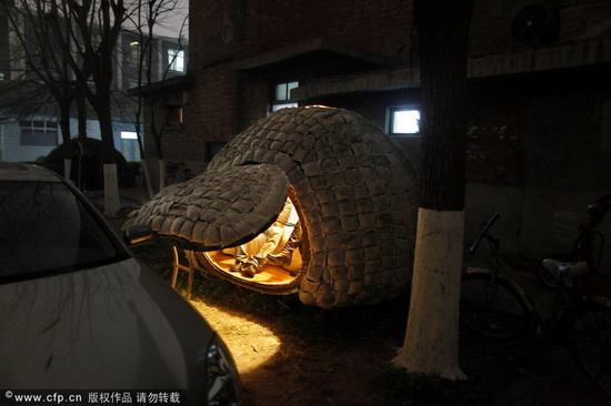 """小屋的""""蛋壳""""上,被掏出一个椭圆形的小门,没有锁。图片来源:新京报 赵亢/CFP"""
