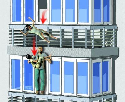 小女孩独自一人在家不慎从五楼窗户坠下,范师傅站在四楼窗口给工人交代事情,看见有东西坠下,伸手接住。本报 张叶 制图