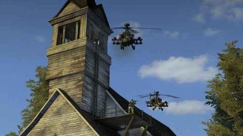 你可以购买各种载具,比如图中的阿帕奇武装直升机