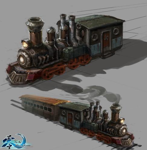 《零纪元》蒸汽火车原画