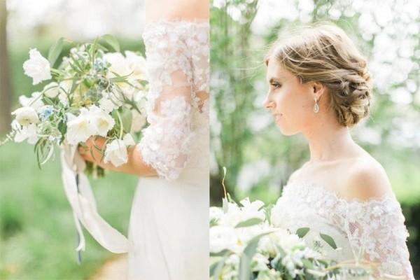 纯白丛中一点蓝婚礼极具气质又有趣