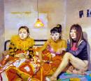 刘小东作品赏析:《三个姐妹看电视》