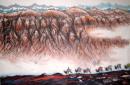 《火焰山下骆驼铃》 68X44.5cm 1998年