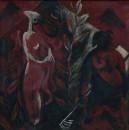 1986年 《狭路逢生》 油画 46x46cm