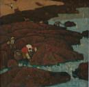 1980年 《赶海习作1》油画 47x47cm