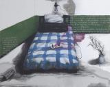 张晓刚作品赏析:《绿墙-卧室》