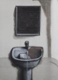 张晓刚作品赏析:《绿墙-洗手间》