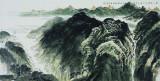 溪山帆影,136x68cm,中国画,2011年,许钦松