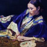 陈逸飞作品赏析:《蓝衣仕女》