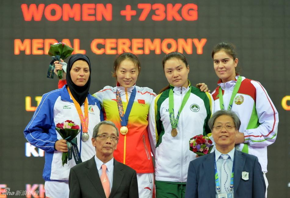 跆拳道女子73公斤以上级刘东华夺冠