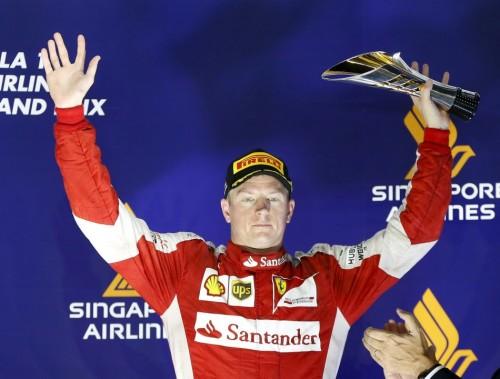 图文-F1新加坡站正式比赛 季军法拉利车队莱科宁