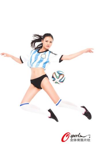 高清图-女主播姚馨怡化身足球宝贝力挺阿根廷