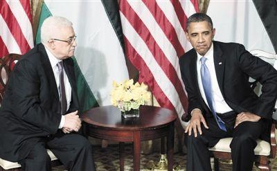 21日,纽约,奥巴马(右)与巴勒斯坦民族权力机构主席阿巴斯举行会晤。新华社发