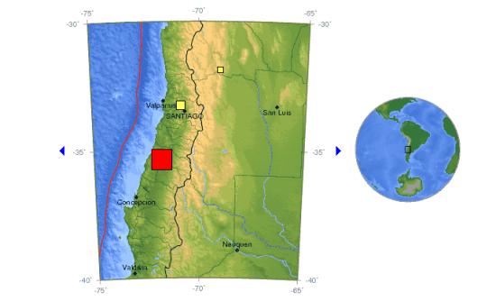 图中红色方块为震中