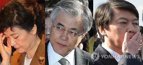 资料图:韩国总统选举候选人(左起):朴槿惠、文在寅、安哲秀 来源:中国新闻网