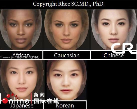 国际美容刊物公布典型美女脸合成图(图)
