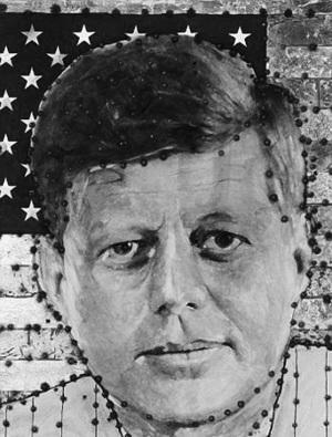 枪弹射出的美国前遇刺总统肯尼迪的肖像画。