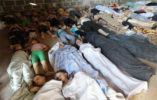 叙利亚反对派指称叙政府军21日对平民使用化学武器(网页截图)