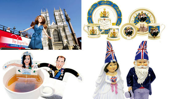 Franklin Mint公司推出的全球限量发售玩偶、英国百年名瓷品牌Aynsley设计的威廉与凯特婚礼瓷器、Donkey公司设计的袋泡茶、B&Q 公司制作的婚礼瓷器小人