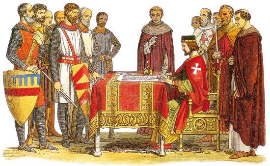 1215年,英国坎特伯雷大主教斯蒂芬·兰顿执笔,和贵族共同起草《自由大宪章》