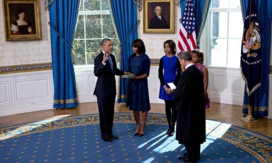 2013年1月20日,奥巴马在白宫宣誓就职。来源:纽约时报