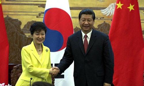 2013年6月,习近平与朴槿惠在北京会谈