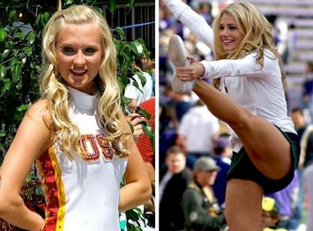 南加州(左)和俄勒冈大学啦啦队长。